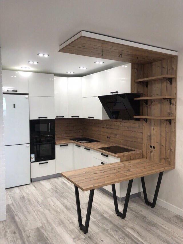 Белый кухонный гарнитур-Кухня из пластика «Модель 446»-фото3