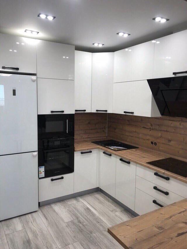 Белый кухонный гарнитур-Кухня из пластика «Модель 446»-фото2
