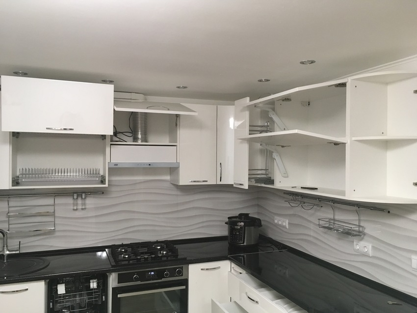 Белый кухонный гарнитур-Кухня МДФ в эмали «Модель 472»-фото7