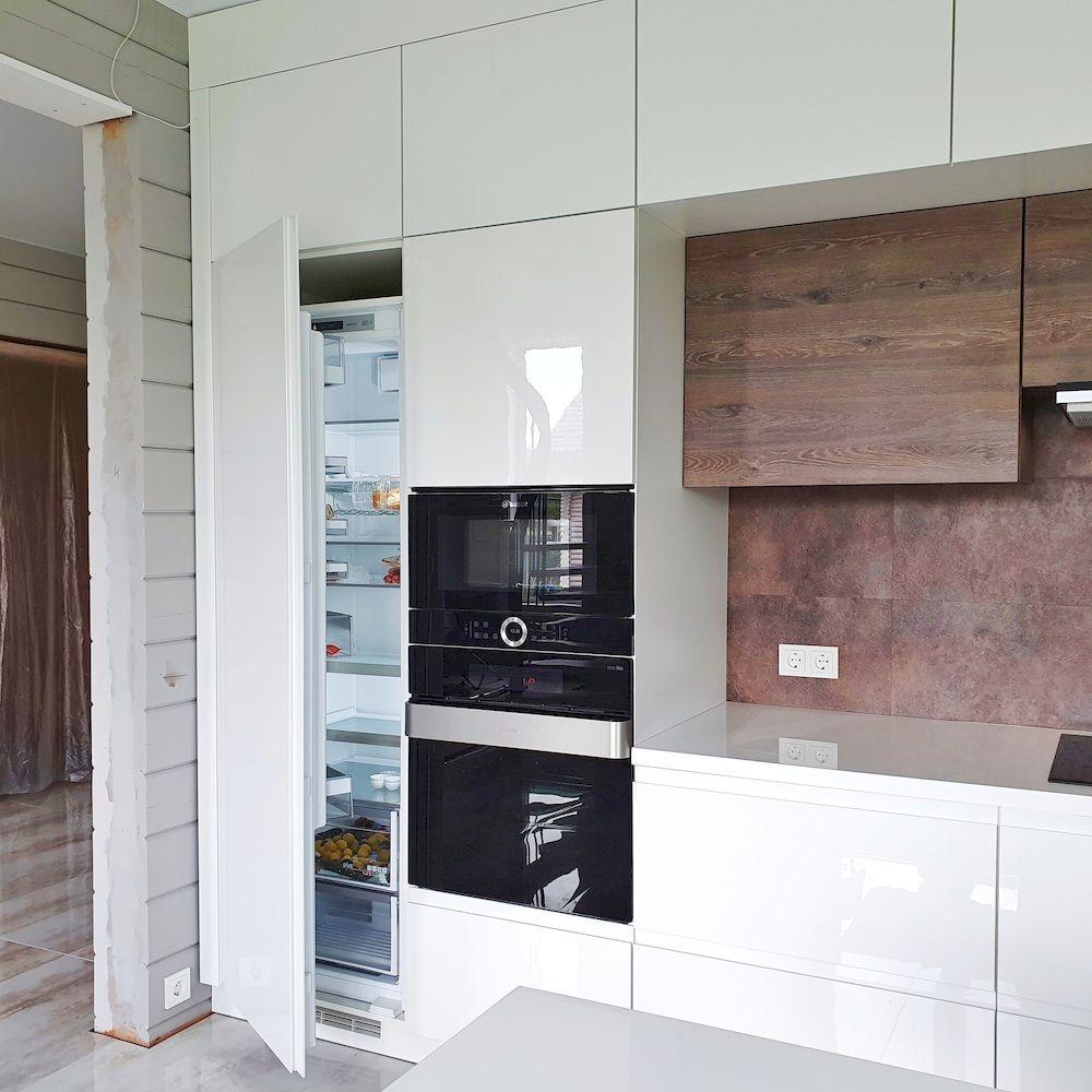 Белый кухонный гарнитур-Кухня МДФ в эмали «Модель 533»-фото5