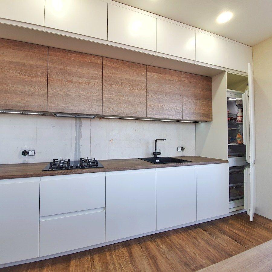Белый кухонный гарнитур-Кухня МДФ в эмали «Модель 545»-фото3