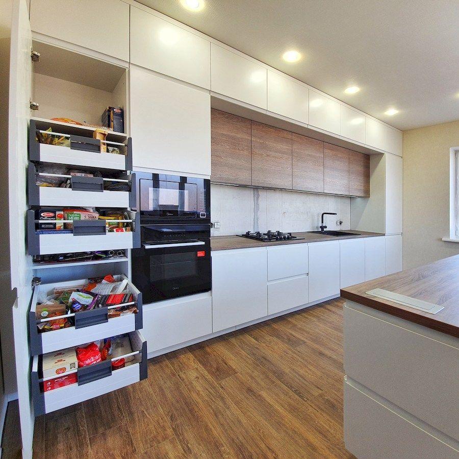 Белый кухонный гарнитур-Кухня МДФ в эмали «Модель 545»-фото7