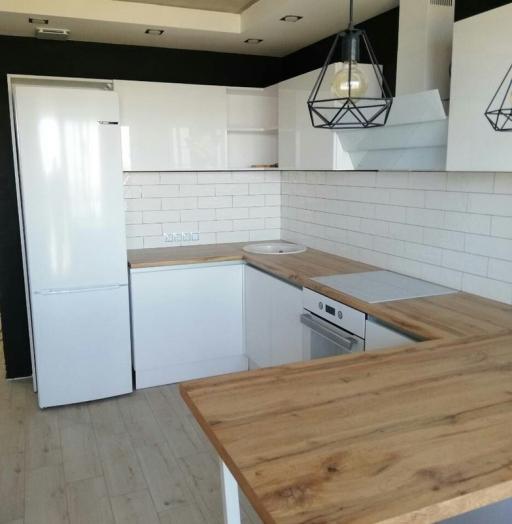 Белый кухонный гарнитур-Кухня МДФ в эмали «Модель 380»-фото9