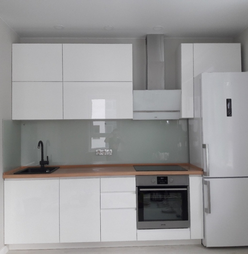 Белый кухонный гарнитур-Модель МДФ в эмали «Модель 447»-фото2