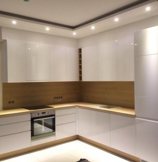 Белый кухонный гарнитур-Кухня МДФ в эмали «Модель 455»-фото2
